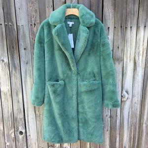 NWT Topshop Midi Faux Fur Coat Sage Green 4